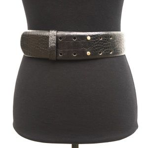 Croc Embossed Leather Wide Waist Belt Small
